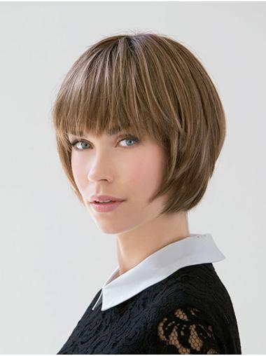 Chin Length Blonde Bobs Straight Remy Human Hair Lace Front Womens Wigs