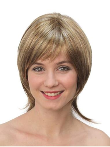 """Straight Blonde Synthetic Chin Length 10"""" Bob Wigs"""