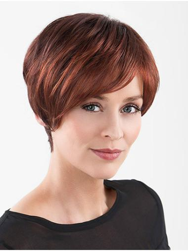 """Straight Red With Bangs 100% Hand-tied 6"""" Synthetic Wigs For Women"""
