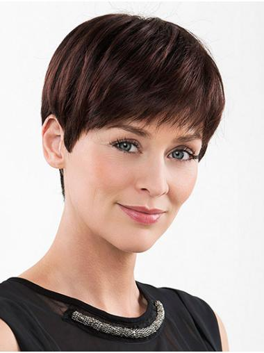 """Straight Red With Bangs Monofilament 6"""" High Quality Synthetic Wigs"""