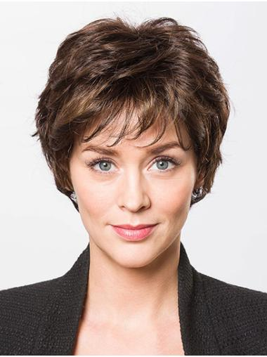 """Wavy Brown With Bangs Capless 8"""" Designed Short Wigs"""