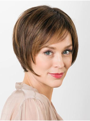 """Straight Brown Layered 100% Hand-tied 8"""" Synthetic Wigs Good Quality"""