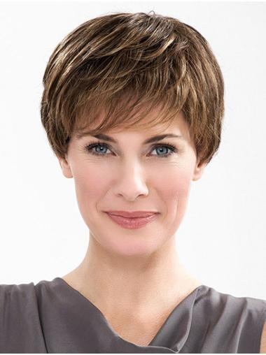 """Straight Brown Layered 100% Hand-tied 6"""" Short Wigs For Sale"""