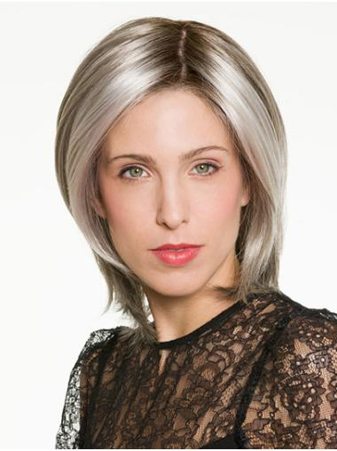 """Straight Ombre/2 Tone Synthetic 100% Hand-tied 12"""" Medium Wig"""