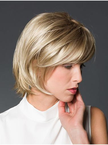 "Straight Platinum Blonde Synthetic Chin Length 10"" Bob Style Wig"