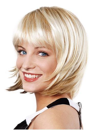 "Straight Platinum Blonde Synthetic Chin Length 10"" Bob Cut Fancy Wigs"