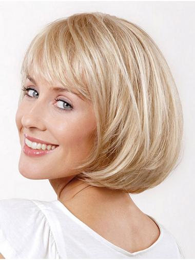 """Straight Platinum Blonde Synthetic Chin Length 10"""" Wigs Bob"""