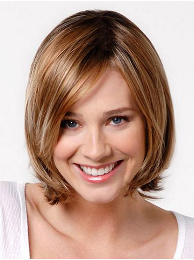 "Straight Blonde Synthetic Chin Length 12"" Ladies Bob Full Wig"