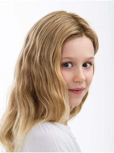 """16"""" Wavy Blonde 100% Hand-tied Without Bangs Kids Wigs"""