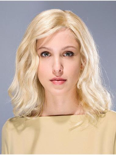 Shoulder Length Blonde Without Bangs Wavy Synthetic Glue Less Lace Wigs
