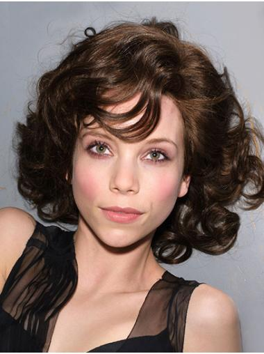 Shoulder Length Brown Without Bangs Curly Synthetic Best Glueless Lace Wigs