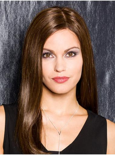 """Straight Brown Without Bangs 100% Hand-tied 18"""" Convenient Synthetic Wigs"""