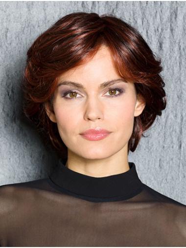 "Wavy Red Synthetic 100% Hand-tied 12"" Popular Medium Wigs"