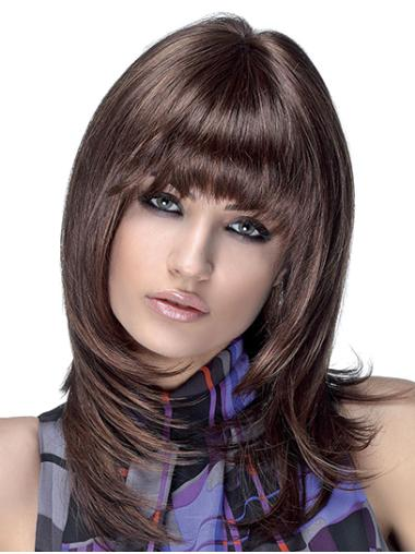 """14"""" Straight Brown Layered Shoulder Length Synthetic Monofilament Wigs For Women"""