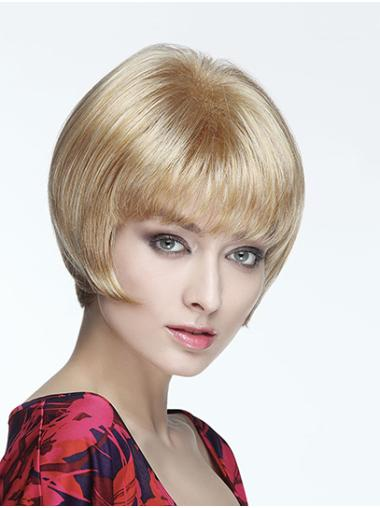 """Straight Blonde With Bangs Capless 8"""" Short Wigs"""