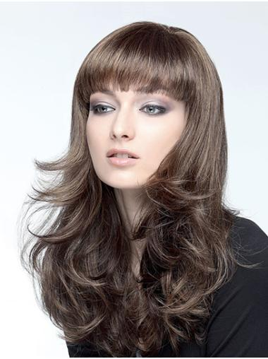 "Wavy Brown Synthetic Capless 18"" Long Hair Wig"
