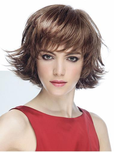 """8"""" Wavy Brown With Bangs Short Synthetic Mono Wigs"""