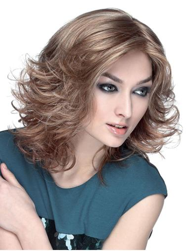 "Wavy Brown Synthetic Shoulder Length 14"" Bob Fashion Wigs"