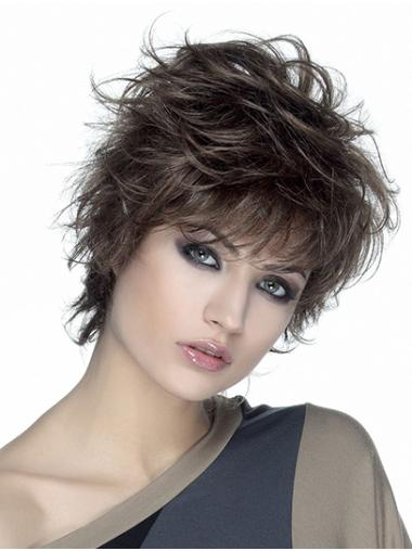 "Wavy Brown Synthetic Short 8"" Classic Womens Wigs"