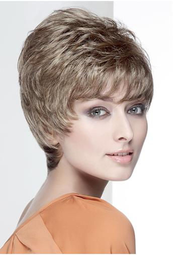 """Wavy Brown With Bangs Capless 8"""" Short Wig"""