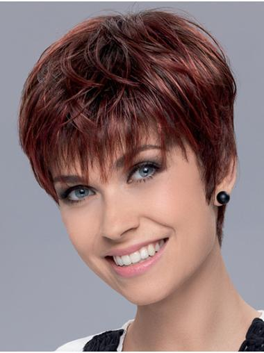 """Boycuts Red Cropped 6"""" Straight Cheap Short Wigs"""