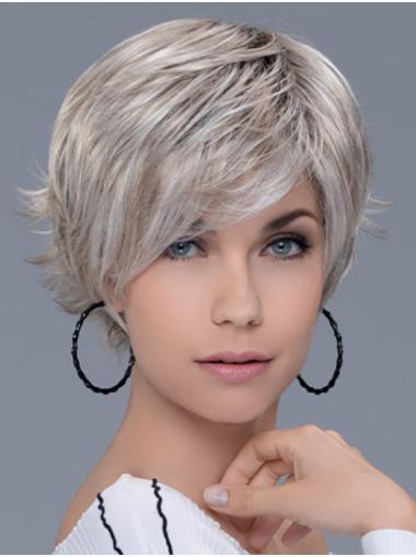 "Layered Grey Short 8"" Straight Short Wig"