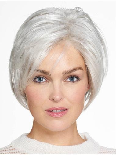 "Bobs Grey Chin Length 10"" Straight Beautiful Medium Wigs"
