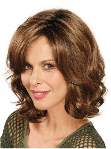 """Without Bangs Brown Shoulder Length 14"""" Curly Lace Front Wig"""