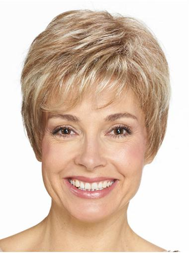 "Boycuts Blonde Short 8"" Straight Very Cheap Synthetic Wigs"