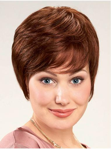 "With Bangs Auburn Short 8"" Straight Women Lace Front Wigs"