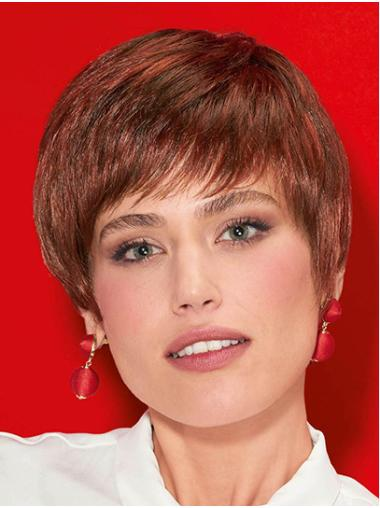 "With Bangs Red Short 8"" Straight Synthetic Ladies Wigs"