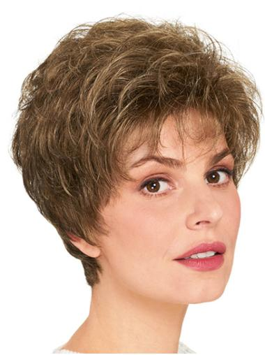 """Layered Brown Short 8"""" Wavy Synthetic Wigs Cheap"""