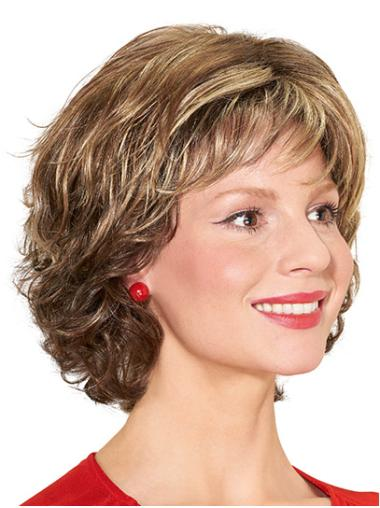 """With Bangs Blonde Chin Length 12"""" Curly Synthetic Wigs For Women"""