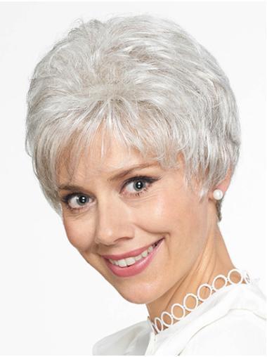 """Grey Grey Short 8"""" Straight Grey Wigs"""