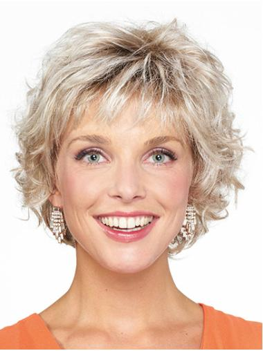 "Bobs Blonde Chin Length 10"" Curly Monofilament Wigs For Ladies"