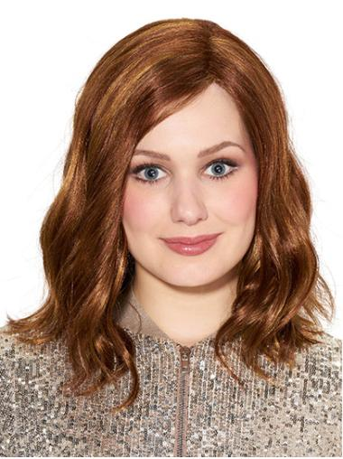 """Without Bangs Brown Shoulder Length 14"""" Wavy Medium Wigs"""