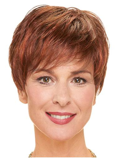"""Layered Red Short 8"""" Straight Cheap Monofilament Wigs"""