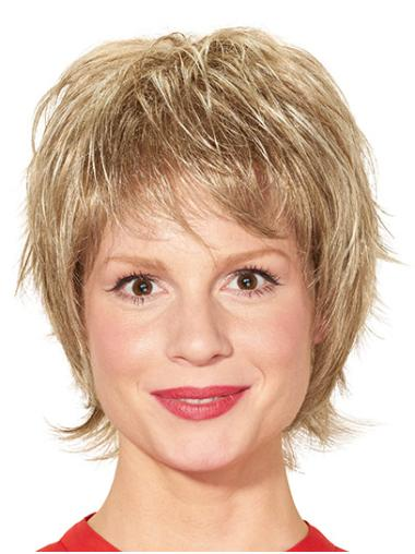 """Layered Blonde Short 8"""" Straight Ready To Wear Monofilament Wigs"""