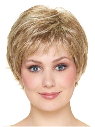 """With Bangs Blonde Short 8"""" Wavy Synthetic Wigs"""
