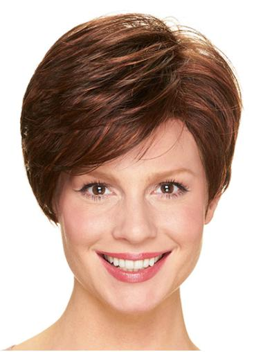 "Without Bangs Brown Short 8"" Straight Cheap Short Wigs"