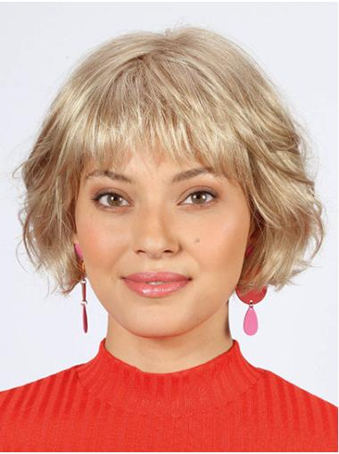 "Bobs Platinum Blonde Chin Length 10"" Wavy Women Wig Medium"