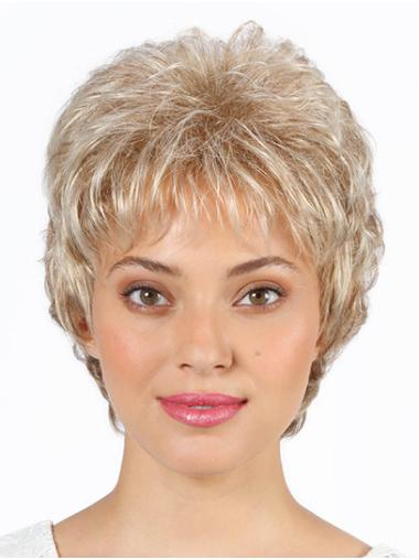 "Layered Grey Short 8"" Wavy Short Wigs For Sale"