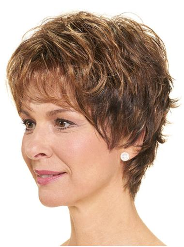 "Layered Brown Short 8"" Wavy Womens Short Wigs"
