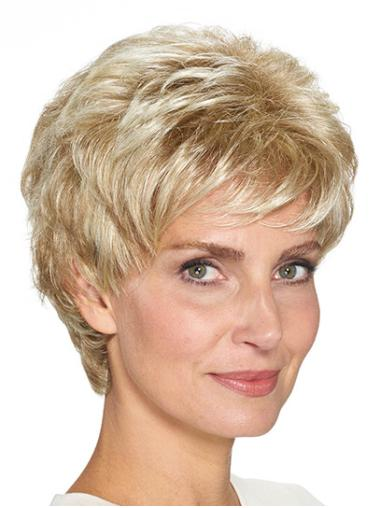 "Layered Blonde Short 8"" Straight Best Short Wigs"