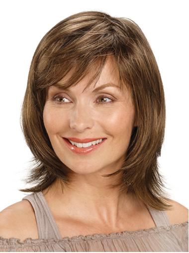 """With Bangs Brown Shoulder Length 14"""" Straight Medium Length Wigs For Women"""