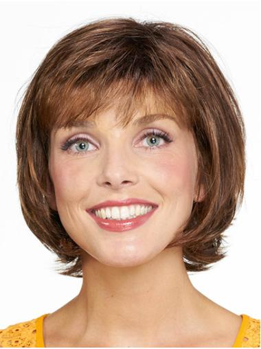 "Bobs Brown Chin Length 10"" Straight Medium Wigs For Women"