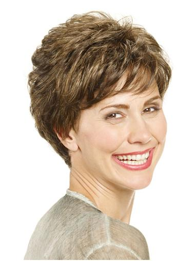 """Layered Brown Short 8"""" Wavy Short Wigs For Lady"""
