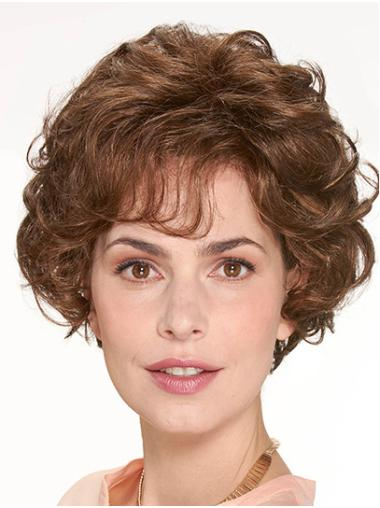 """With Bangs Brown Chin Length 10"""" Curly Beautiful Medium Wigs"""
