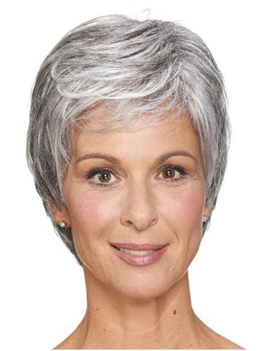 "Classic Grey Short 8"" Straight Women Cheap Classic Wig"