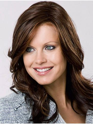 """Without Bangs Brown Shoulder Length 16"""" Wavy Monofilament Wigs For Women"""